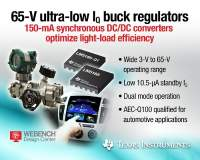 TI's 65-V micro-power buck converters feature industry's lowest quiescent current